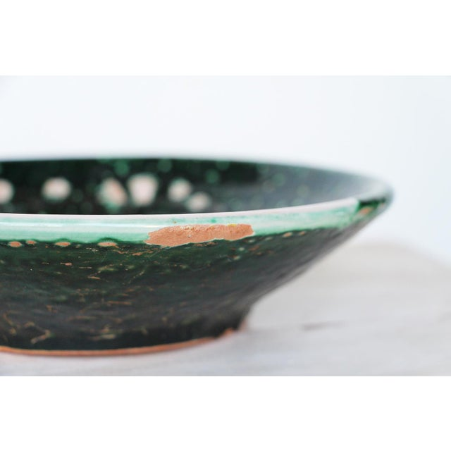 Vintage French Glazed Earthenware, Studio Pottery Low Bowl For Sale - Image 4 of 9