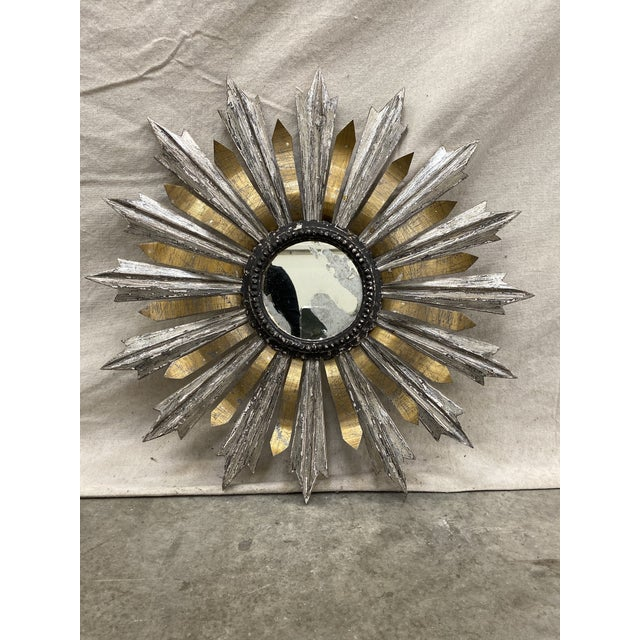 Sunburst Wood and Metal Wall Mirror For Sale - Image 9 of 9