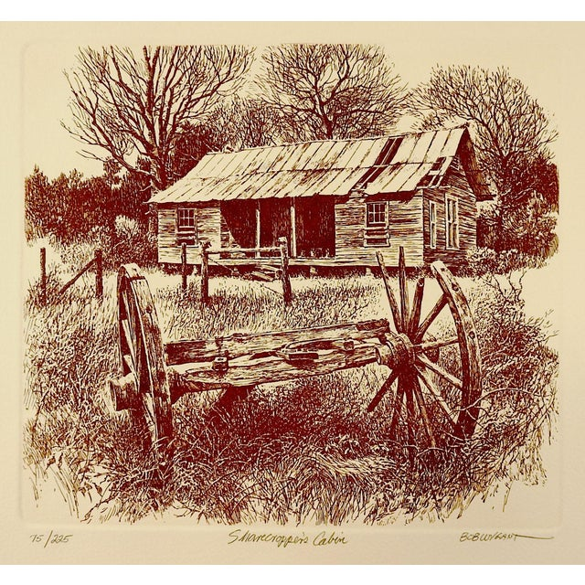 Bob Wygant Etching of Rustic Cabin For Sale