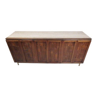 Bert England for Johnson Bros Vintage Modern Travertine Top Sideboard For Sale