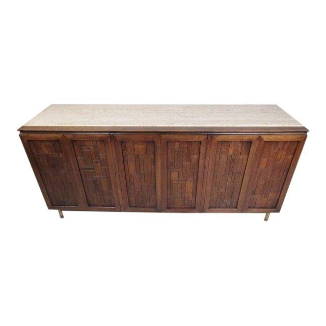 Bert England for Johnson Bros Vintage Modern Travertine Top Sideboard For Sale
