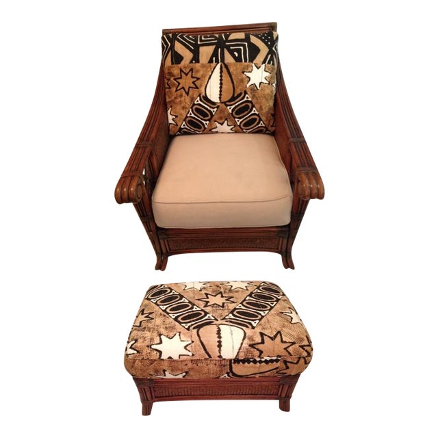 Vintage Padma Plantation Accent Chair & Ottoman For Sale