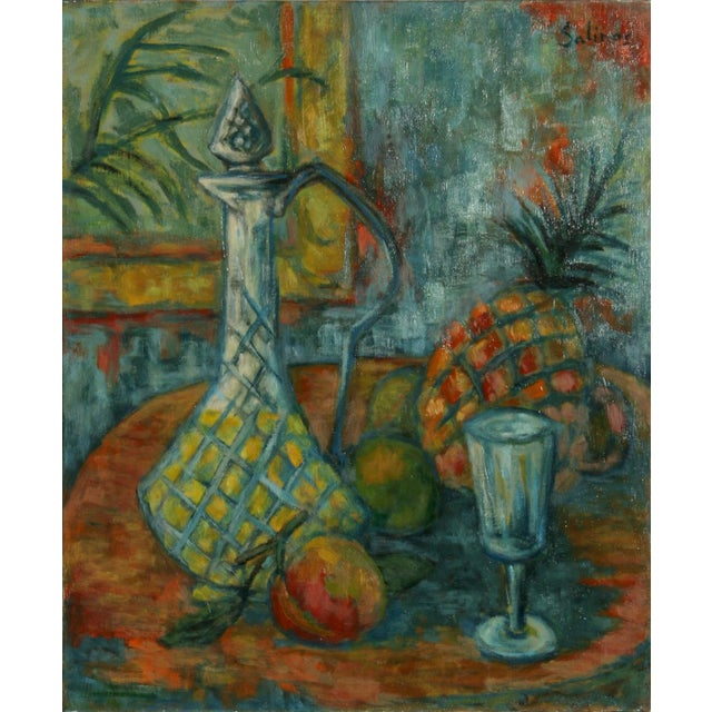 Impressionism Laurent Marcel Salinas, Ananas, Carafe Et Fruits (302), Oil on Canvas For Sale - Image 3 of 3