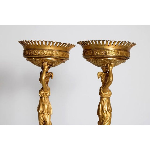 Early 19th Century Pair of French Empire Gilt Bronze Centerpiece Tazzzas For Sale - Image 10 of 13