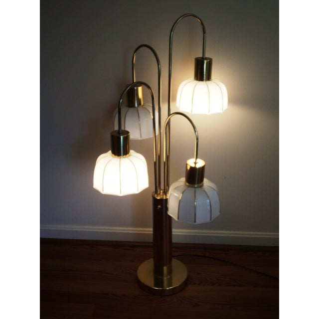 Hollywood Regency Brass & Glass Arc Table Lamp - Image 3 of 8