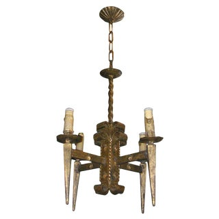 French Gilt Metal Brutalist Style Chandelier For Sale