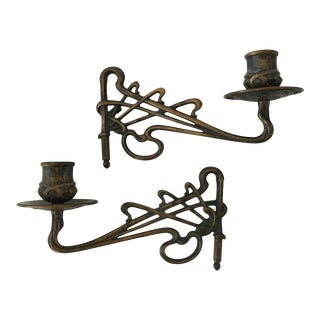 Late 19th Century French Bronze Art Nouveau Sconces - a Pair For Sale