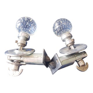 Early 18th Century Tudor Seeded Glass Door Knobs With Hardware From Colonial Era - a Pair For Sale