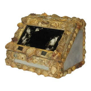 Antique Decorative Shell & Glass Box For Sale