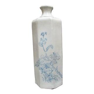 Asian Blue Flower Natural Ceramic Pottery Octagonal Vase Jar, Signed For Sale