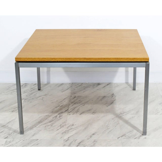 Knoll Mid-Century Modern Knoll Square Steel and Walnut Floating Coffee Table, 1950s For Sale - Image 4 of 9