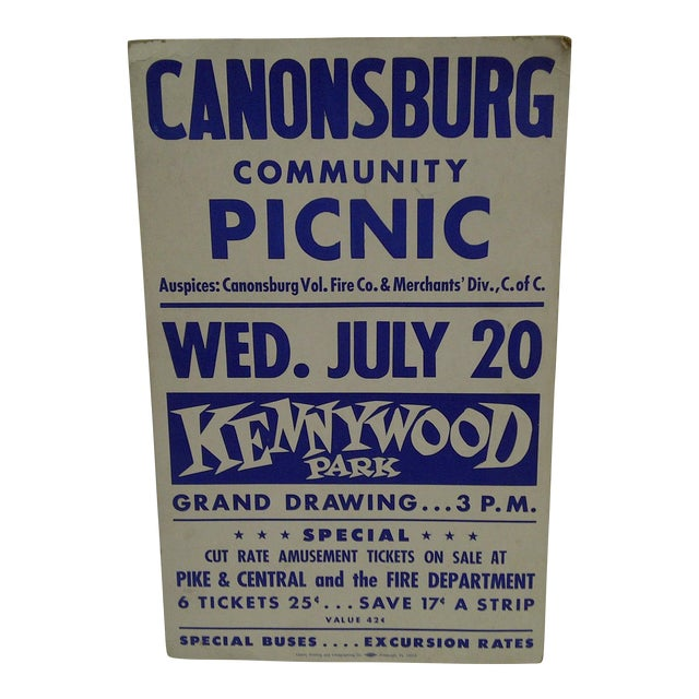 Circa 1950 Canonsburg Community Picnic Kennywood Park Poster For Sale