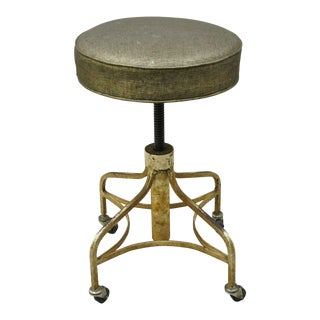 Modecraft American Industrial Metal Base Adjustable Rolling Medical Work Stool For Sale