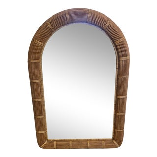 Organic Mid Century Modern Rattan Wicker Arched Mirror For Sale
