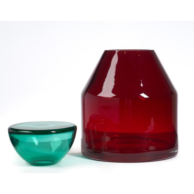 Italian Italian Red & Aqua Glass Lidded Vases - a Pair For Sale - Image 3 of 7