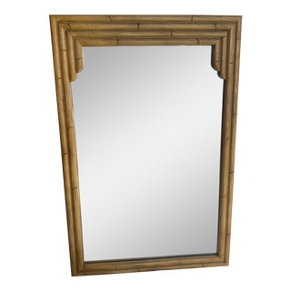 Vintage Faux Bamboo Mirror in Natural Color For Sale