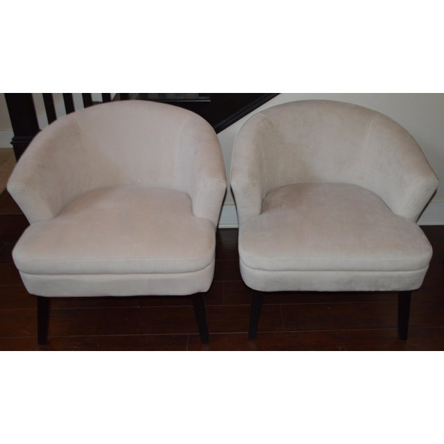 Creme Velveteen Club Chairs - A Pair - Image 4 of 6