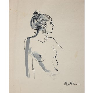 Mid 20th Century Nude Figure Drawing by Rip Matteson For Sale