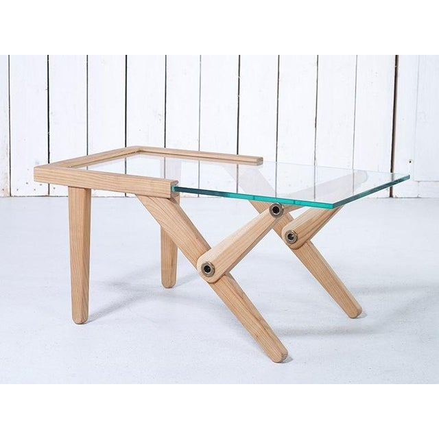 Modern Elm Wood & Glass Top Side Table For Sale - Image 4 of 7