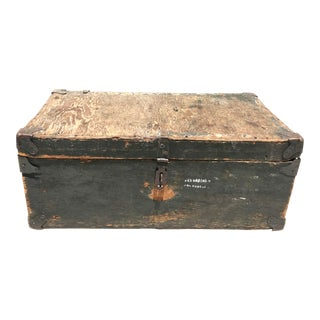 20th Century Americana Distressed Wooden Trunk For Sale