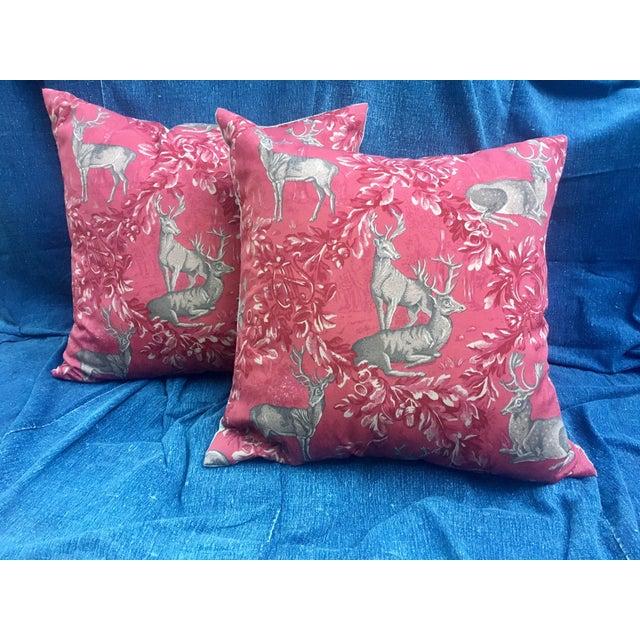 Vintage F. Schumacher Woburn Meadow Deer Pillows - A Pair - Image 2 of 10