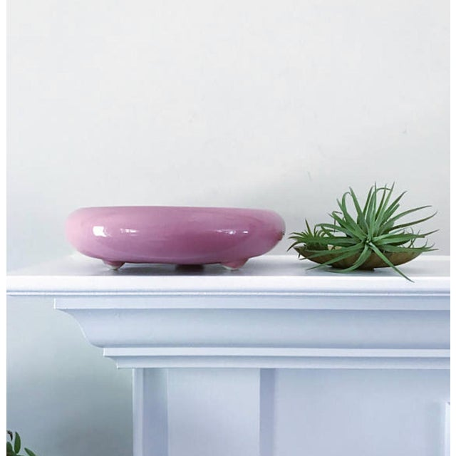 Vintage Mid Century Pink Circular Planter For Sale - Image 4 of 6