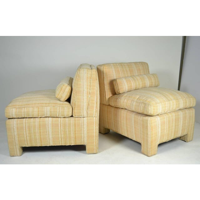 Handsome pair of fine quality slipper chairs, very comfortable. Purchased from Bloomingdales in the late 1960s. Original...