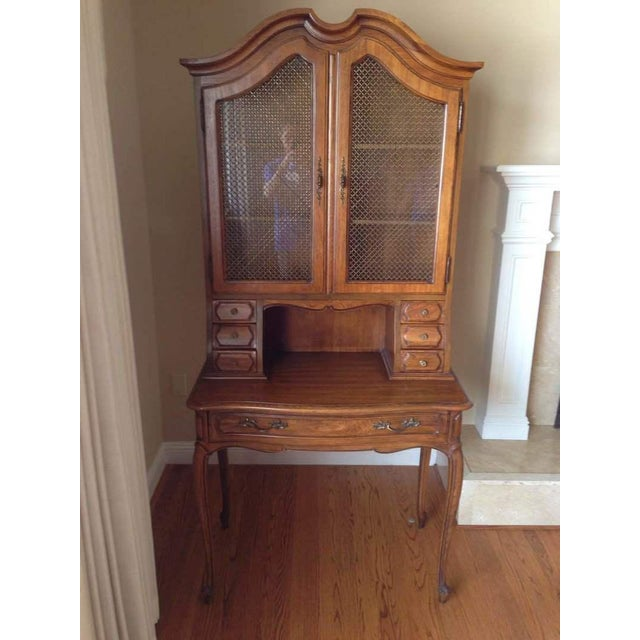 Vintage Thomasville Maple Secretary Desk with Hutch and Needlepoint Chair -  Set of 2 - Image - Vintage Thomasville Maple Secretary Desk With Hutch And Needlepoint