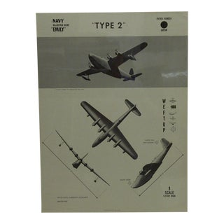 """Vintage WWii Aircraft Recognition Poster """"Type 2"""", Japan, 1944"""