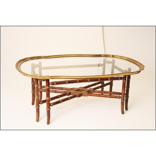 Hollywood Regency Faux Bamboo Coffee Table With Brass Glass Top - Bamboo end table glass top