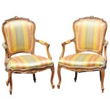 Image of Louis XVI Style Carved Walnut Fauteuils - A Pair For Sale