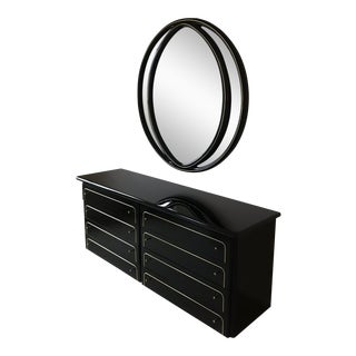 Lane Mid-Century Black and Brass Dresser and Mirror