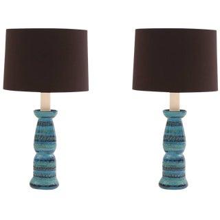 1960s Mid-Century Modern Aldo Londi Bitossi Rimini Ceramic Lamps - a Pair For Sale