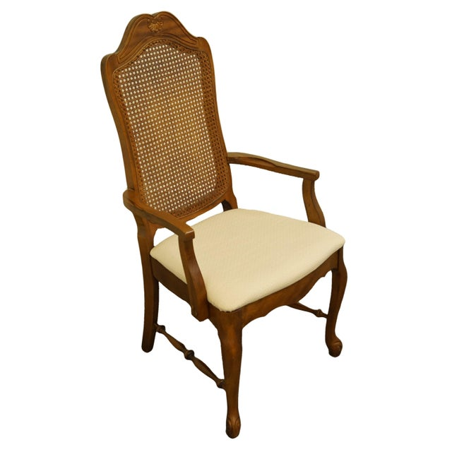 """Bernhardt Furniture French Provincial Cane Back Dining Arm Chair 118-521 w. 225 Finish 42.5"""" High 22.5"""" Wide 24"""" Deep..."""