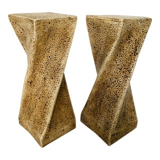 1970s Vintage Plaster Sculptural Twist Pedestal - A Pair For Sale