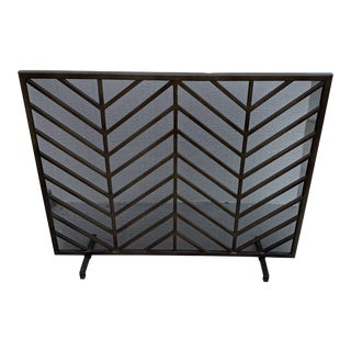 Crate and Barrel Modern Fireplace Screen For Sale