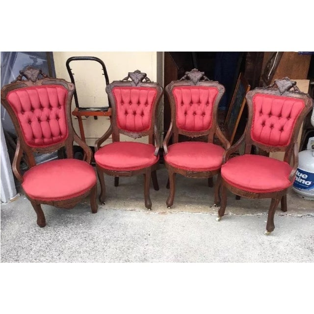 Victorian Eastlake Parlor Chairs - Set of 4 - Image 2 of 6