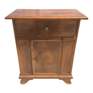 19th Century English Traditional Walnut Cabinet With Drawer For Sale
