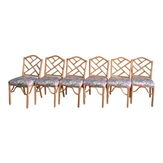 Chinese Chippendale Bamboo Rattan Boho Dining Chairs - Set of 6 For Sale