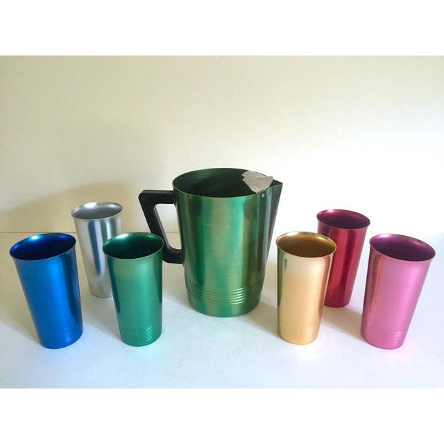 Various Artists Vintage Mid Century Modern Rare Anodized Spun Aluminum Multicolor Beverage Set - 7Pc For Sale - Image 4 of 12