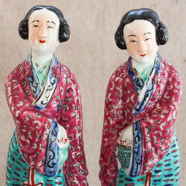 Asian Antique Chinese Famille Rose Statues - Pair For Sale - Image 3 of 8