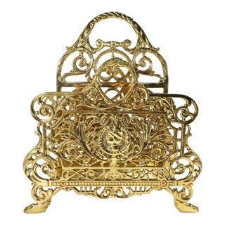 Filigree Brass Letter Holder Mail Organizer Desk Accessory For Sale