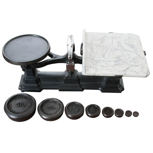 English Victorian Cast Iron Scale & Weights - 9 Pc. Set For Sale In Baton Rouge - Image 6 of 6