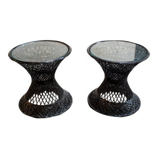 Set of Two Small Vintage Russell Woodard Spun Fiberglass Patio Side Tables For Sale