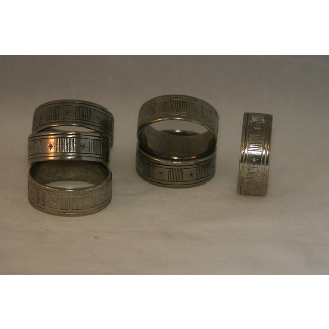 Mid-Century Modern Artisan Hand Forged Norwegian Pewter Napkin Rings in Original Box - Set of 6 For Sale - Image 3 of 8