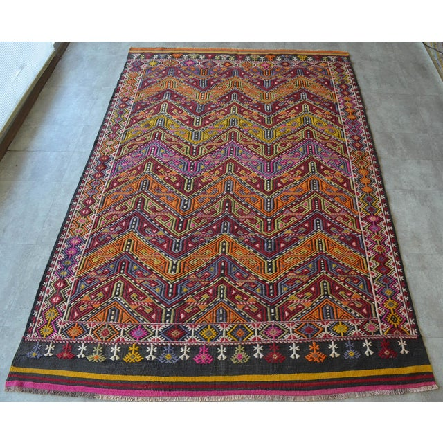 "Traditional Antique Turkish Kilim Rug Hand Woven Wool Jajim Braided Area Rug - 6'5"" X 9'10"" For Sale - Image 3 of 9"