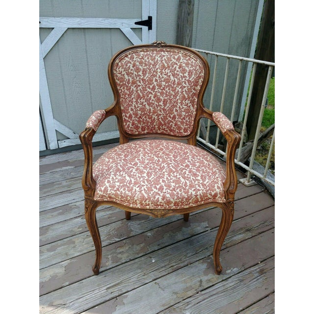 Vintage Louis XV French Carved Fruitwood Hardwood Arm Side Chair With Jacquard Upholstery For Sale - Image 13 of 13