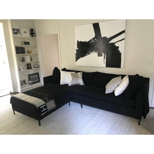Cisco Brothers Radley Modern Classic Feather Down Black Linen Sofa & Ottoman