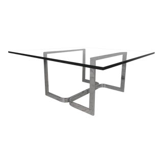 Mid-Century Modern Chrome and Glass Coffee Table For Sale