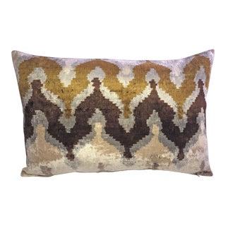 Brownstone Silk Velvet Ikat Accent Pillow Cover For Sale